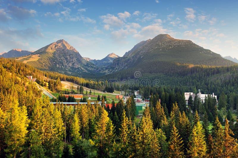 Strbske Pleso con la foresta e la montagna, vista aerea, Slovacchia fotografia stock