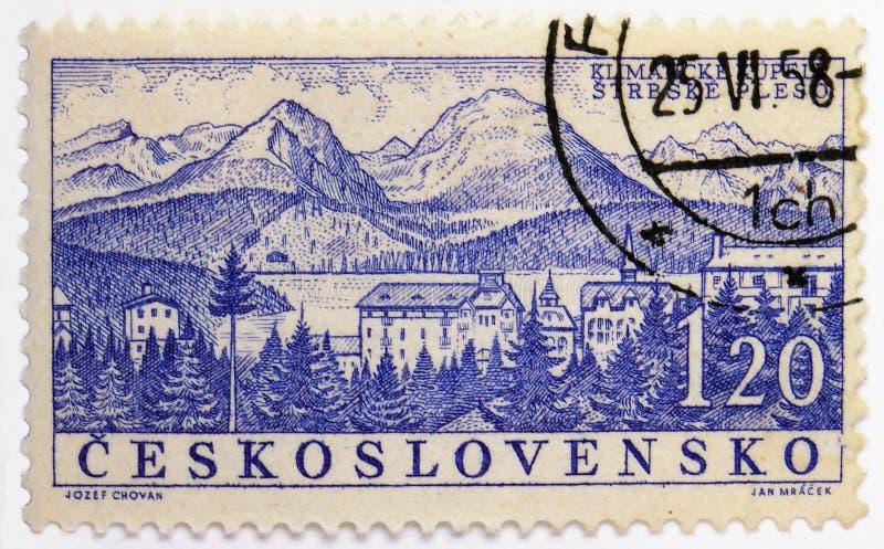 Strbske Pleso Czechoslovak Spa serie, circa 1958 royaltyfri foto