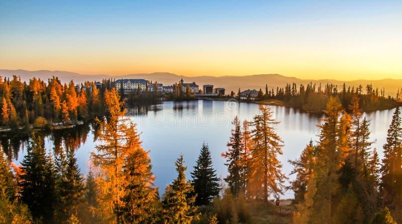 Strbske pleso Strbske jezioro w Wysokim Tatras parku narodowym, Północny Sistani zdjęcia stock