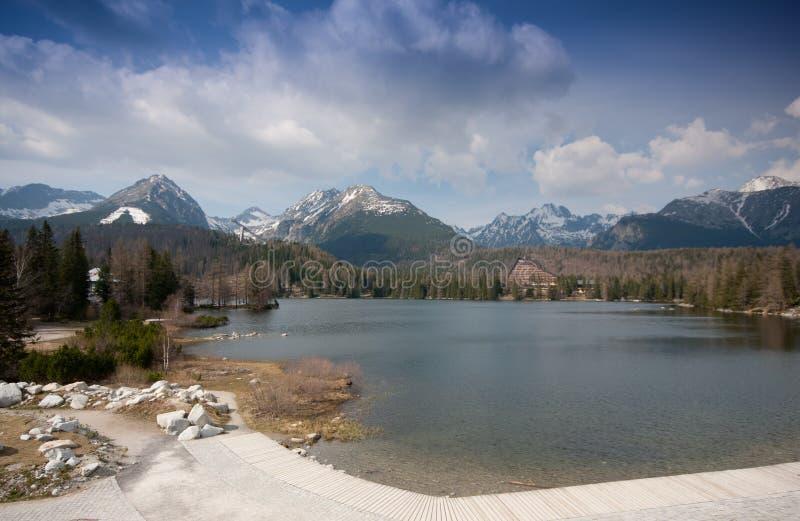 Strbske pleso lake stock image