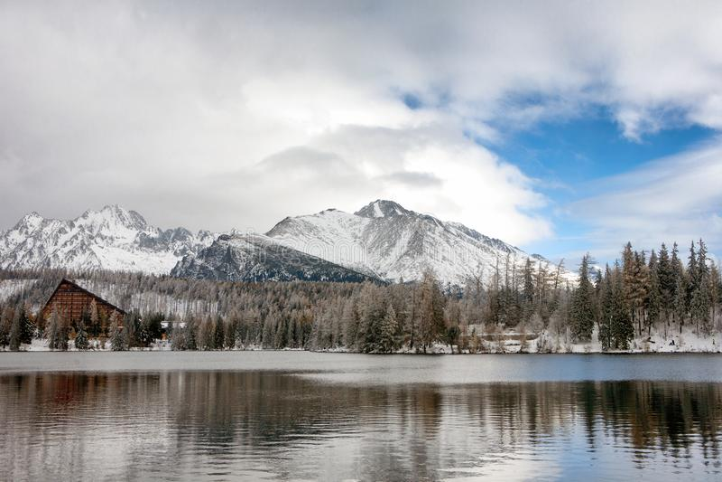 Strbske Pleso lake in winter. High Tatras, Slovakia stock photography
