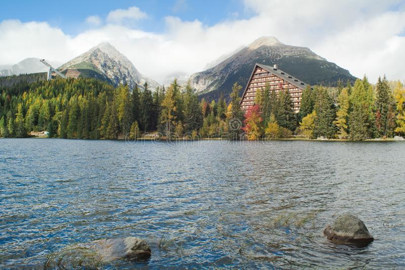Strbske pleso mountain lake- crystal clear water in High Tatras - Slovakia stock photos
