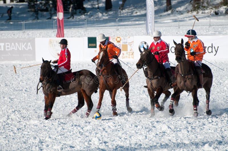 STRBSKE PLESO, SLOVAKIA - FEBRUARY 6: Polo on snow royalty free stock images