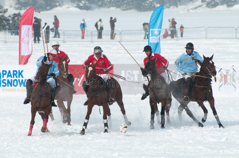 STRBSKE PLESO, SLOVAKIA - FEBRUARY 7: Polo on snow. STRBSKE PLESO, SLOVAKIA - FEBRUARY 7: J&T Bank Trophy 2010 - Polo on snow - match for 3rd place between royalty free stock photos