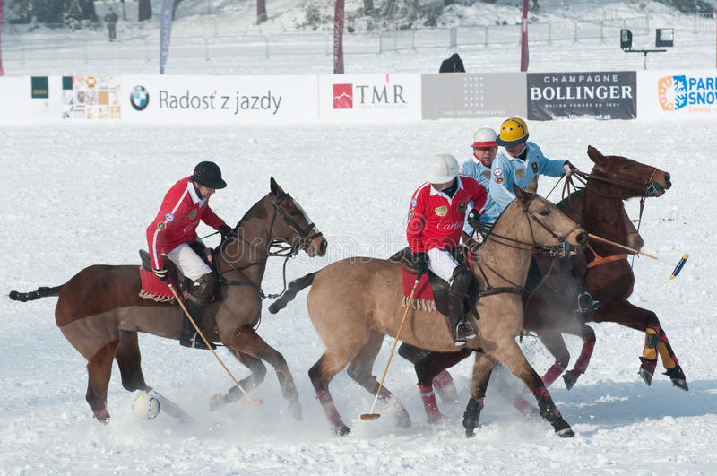 STRBSKE PLESO, SLOVAKIA - FEBRUARY 7: Polo on snow. STRBSKE PLESO, SLOVAKIA - FEBRUARY 7: J&T Bank Trophy 2010 - Polo on snow - match for 3rd place between royalty free stock images
