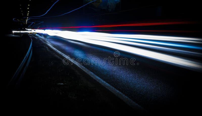 Streaks of headlights at night
