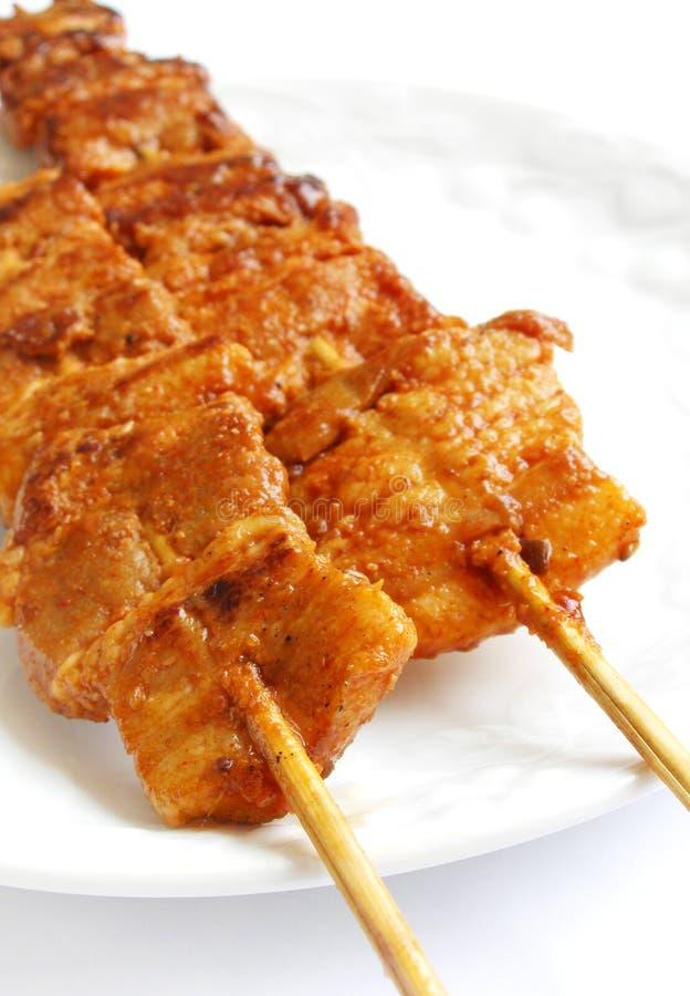 streaky koreansk pork för matkebabs arkivbild