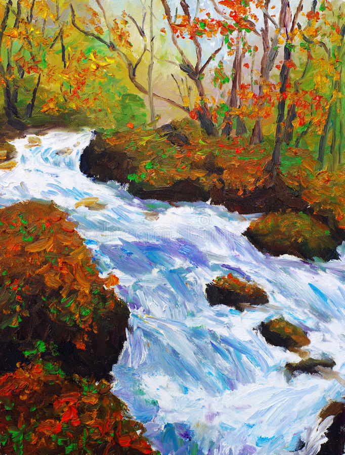 Stream. Oil painting of the stream vector illustration