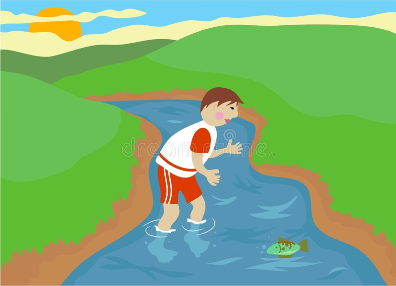 Stream. Boy trying to catch a fish in a country stream vector illustration