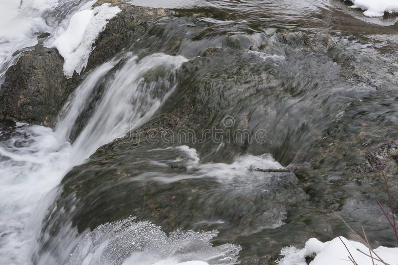 Big Hill Springs Provincial Park stream in winter. Stream adjacent to hike in Big Hill Springs Provincial Park in Alberta in the winter with snow royalty free stock photography