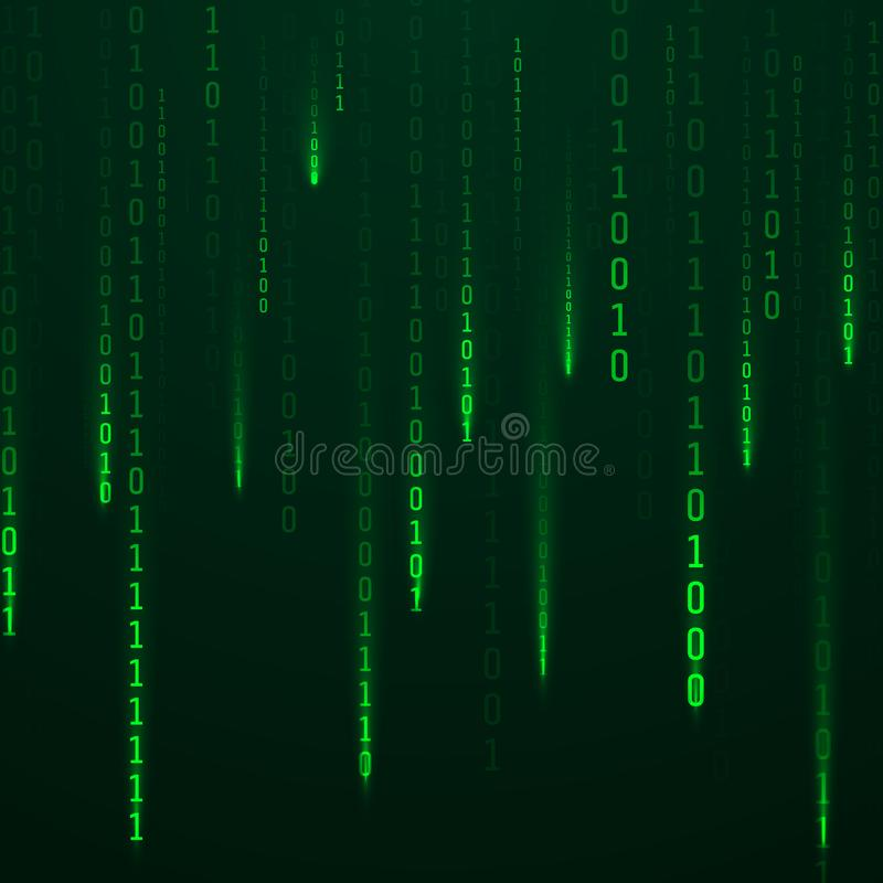 Stream of binary code. Green color code streams glowing on screen. Falling random numbers. Data and technology. Vector. Illustration vector illustration