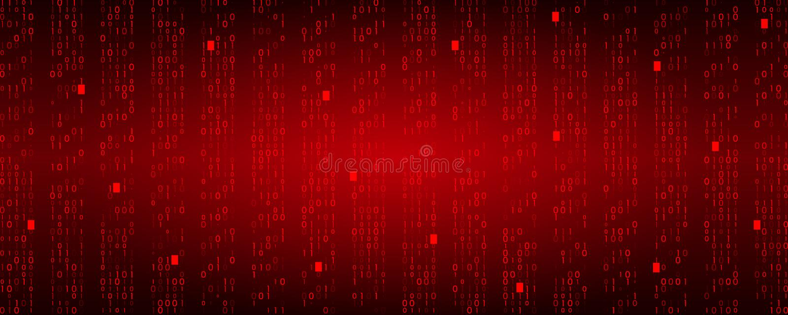 Stream binary matrix code on screen. computer matrix numbers and system crash. The concept of unsuccessful coding and data violation. Vector illustration royalty free illustration