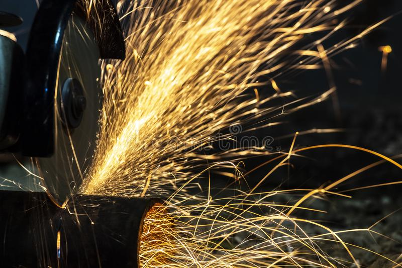 Sparks from cutting royalty free stock images