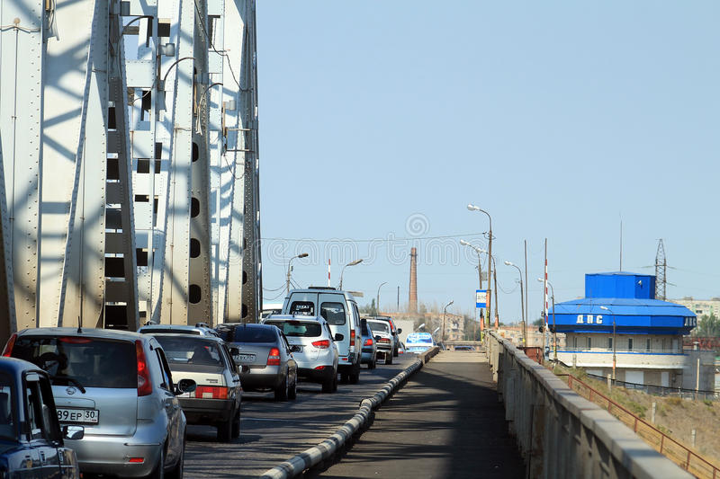Download A Stream Of Cars On The Old Bridge In Astrakhan Editorial Photo - Image of cars, bridge: 26529726
