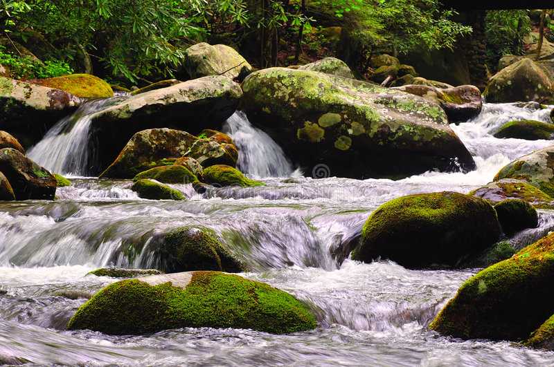 stream cascades over rocks stock photography
