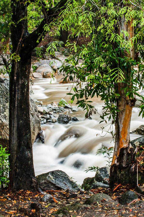 Stream of Chamang Fall. View of quick flowing stream from Chamang Waterfall in Bentong, Pahang stock photography