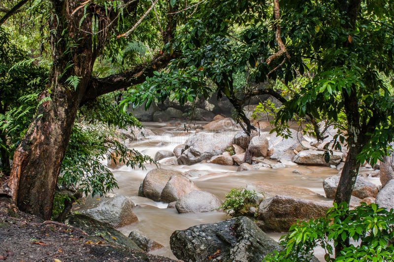 Stream of Chamang Fall. View of quick flowing stream from Chamang Waterfall in Bentong, Pahang royalty free stock images