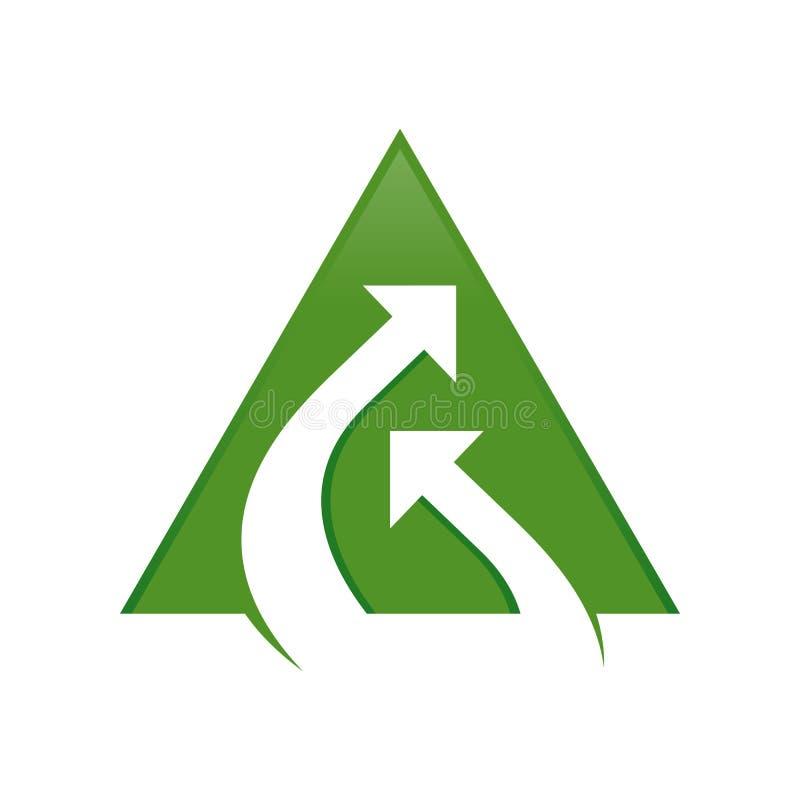 Stream Connection Double Arrow Green Triangle Symbol Logo Design