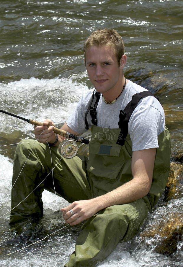 Stream Fishing royalty free stock image
