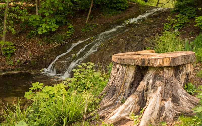 A stream flowing though Himley Hall Park in Dudley, West Midlands, UK in the autumn. Previously the home of the Earl of Dudley. A tree has been cut down royalty free stock photo