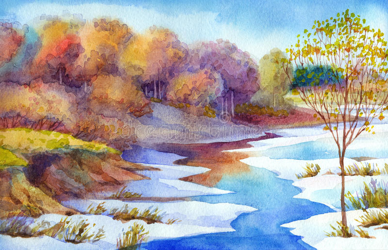 Stream in forest valley winter day. Watercolour landscape royalty free illustration