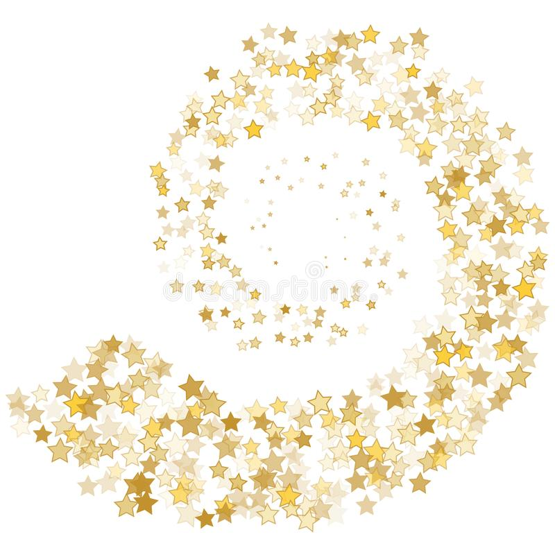 Stream gold stars on a white background. Vector illustration royalty free illustration