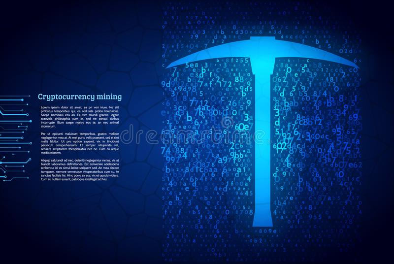 A stream of hexadecimal code on background. The concept of coding and mining of cryptocurrency. Abstract mining concept with pickaxe and computer code vector illustration