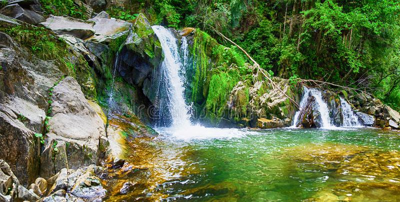 A stream in the mountains flows along the rocks and a stormy waterfall stock image