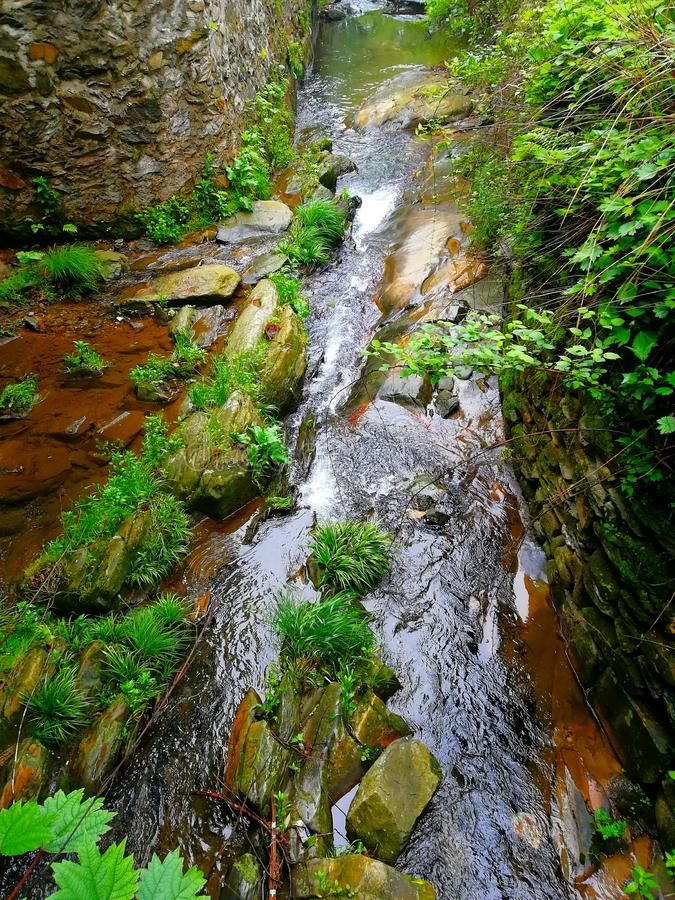 a stream in the mountains stock image