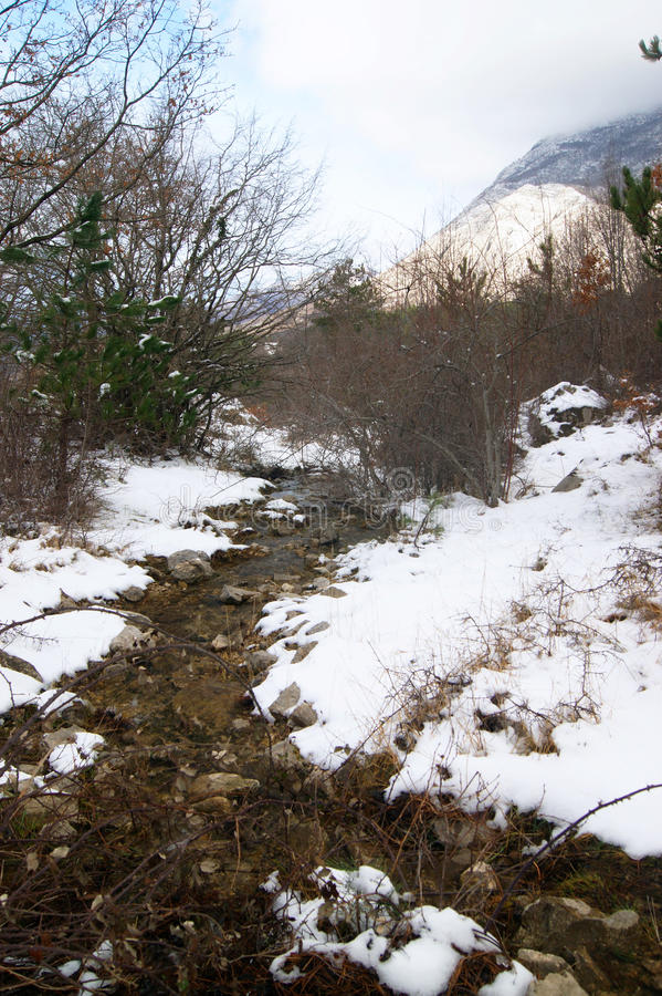 Stream in the mountains. Winter landscape with a mountain stream stock photos
