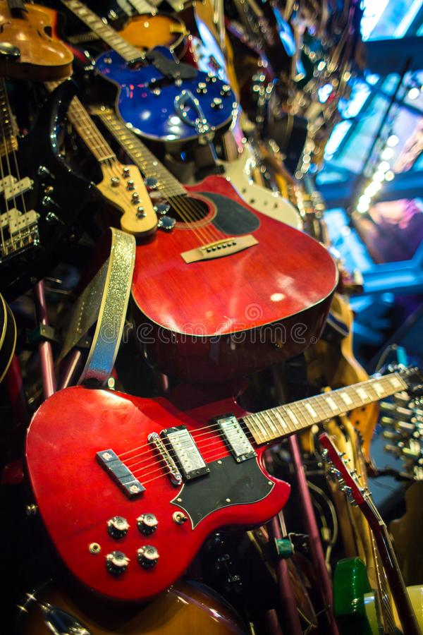 Stream of music made from various type of musical instruments. Mainly guitars and keyboards royalty free stock photography