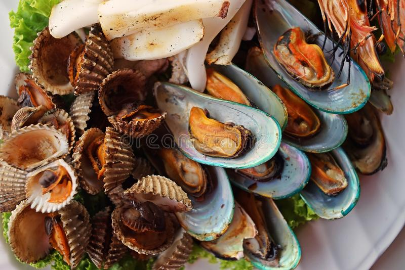Stream seafood dish. Appetizer dish stock photography