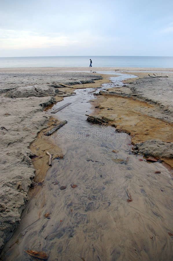 Download Stream Of Water At A Beach. Stock Photo - Image of brown, poland: 2151388