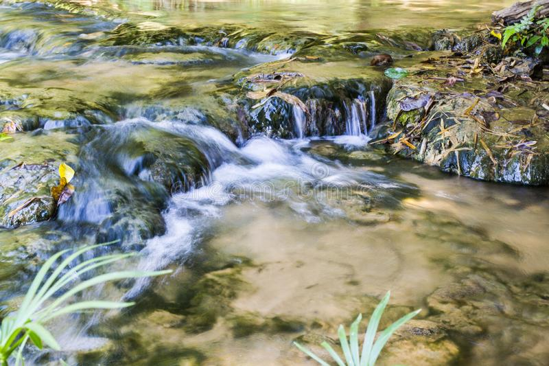 Waterfall in tropical rain forest royalty free stock images