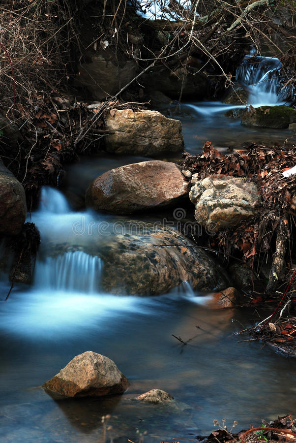 Stream Waterfall. A time-lapse photo of water flowing over several cascades in a stream. Shot near Lexington, Virginia stock photo