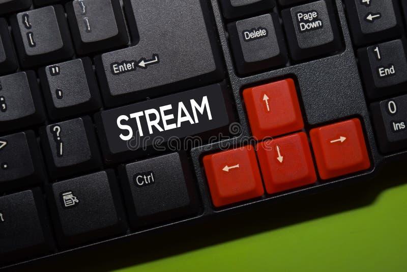 Stream write on keyboard isolated on laptop background stock photography