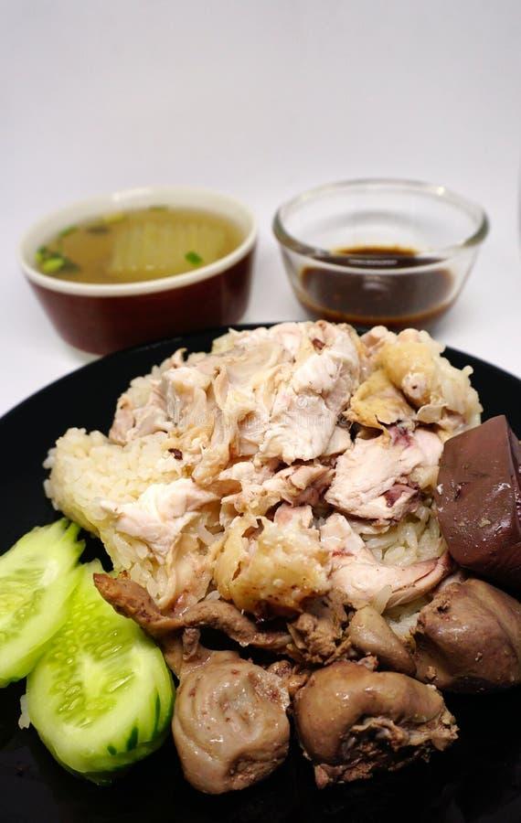 Streamed chichken米用调味汁和汤 免版税库存照片