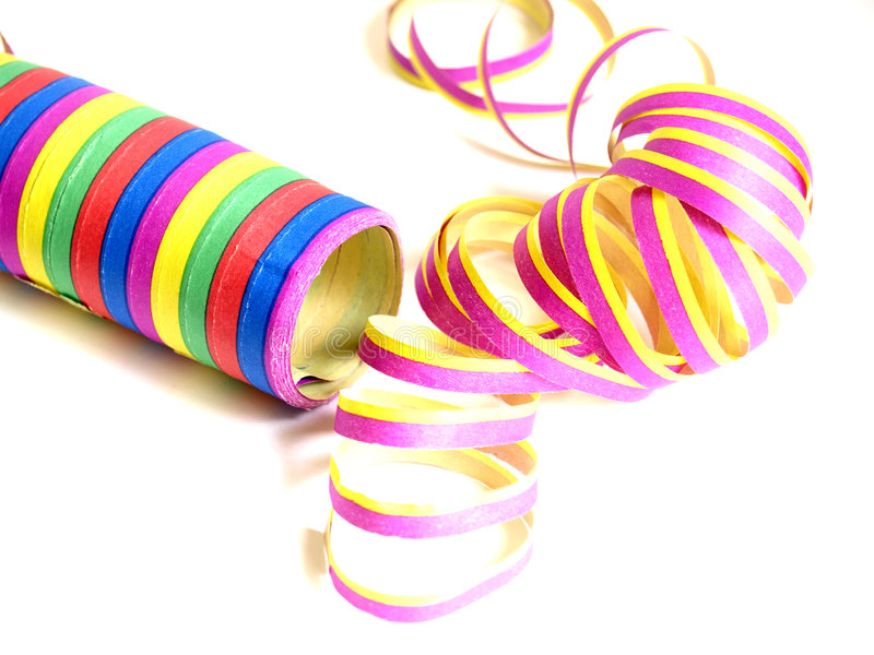 Streamer. A colourful paper streamer on white background stock photo