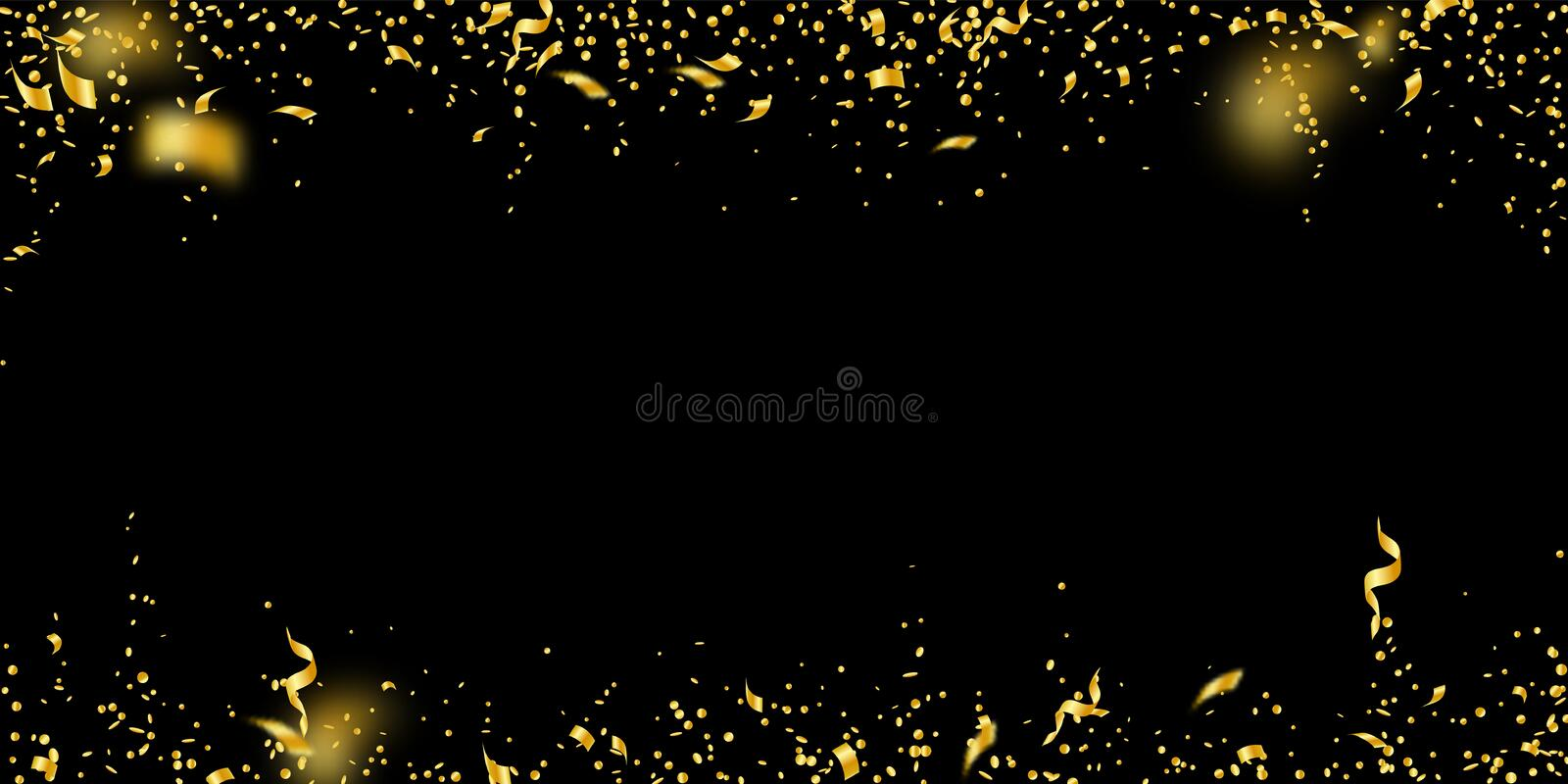 Streamers and confetti. Gold tinsel and foil ribbo. Ns. Confetti falling rain on black background. Bewitching paty overlay template. Positive celebration concept stock illustration