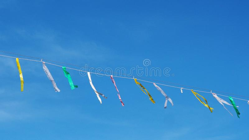 Streamers on a line royalty free stock photography