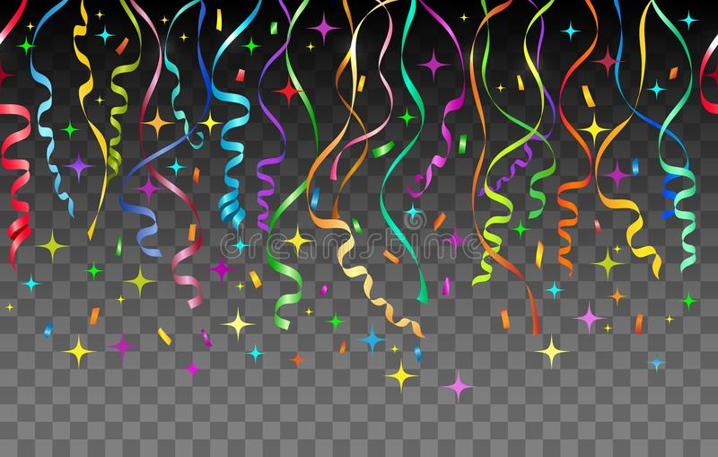 Streamers and confetti transparent background vector illustration