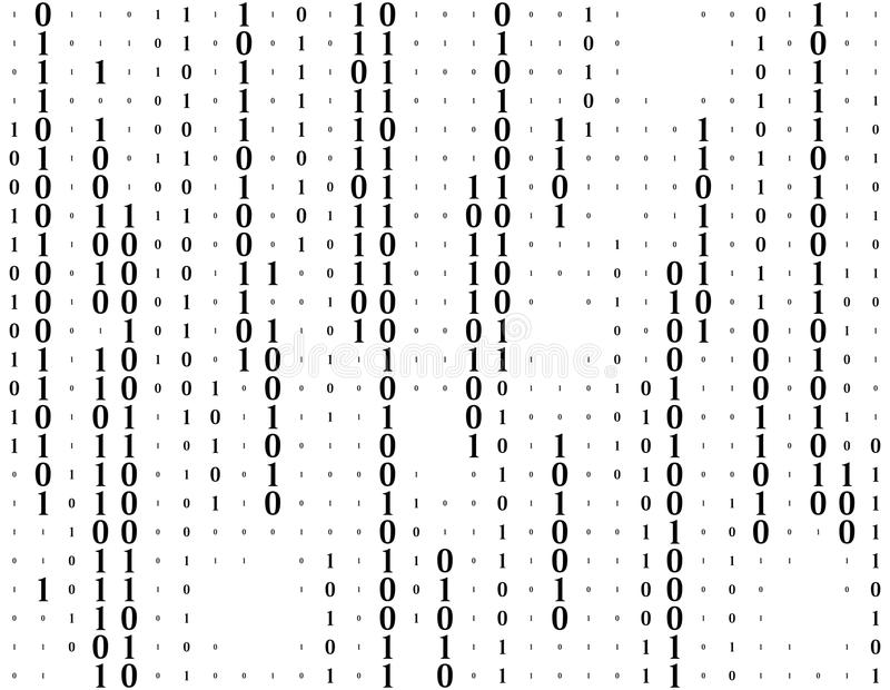 Streaming binary code vector background. Coding or Hacker concept. Data and technology, decryption and encryption vector illustration