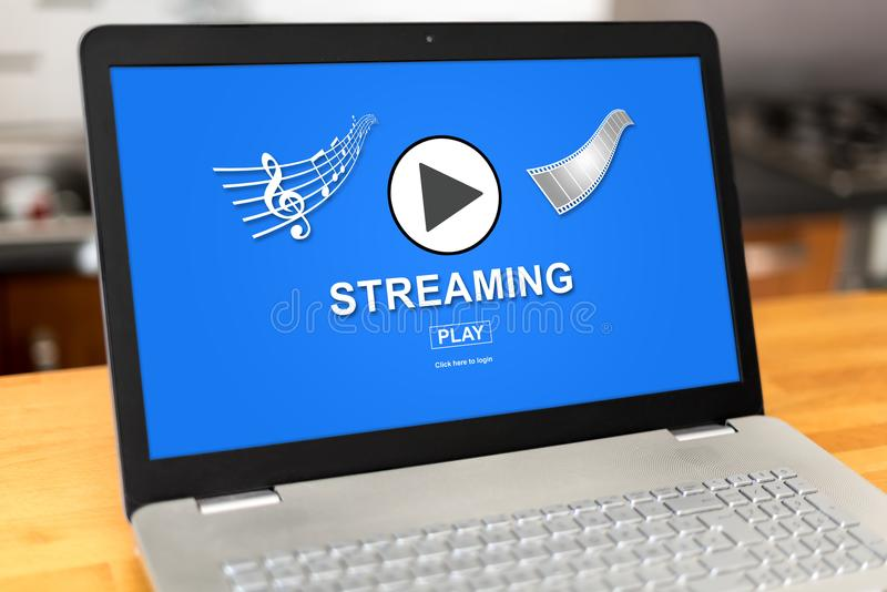 Streaming concept on a laptop stock image