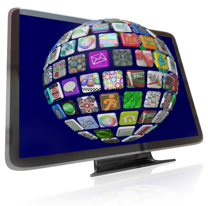 Streaming Content Icons on HDTV Television Screens. A HDTV television with a sphere of streaming content icons on its screen representing the wide variety of stock illustration