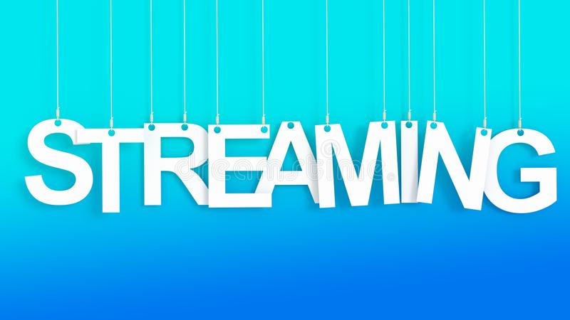 Streaming hanging Letters. Over blue background stock illustration