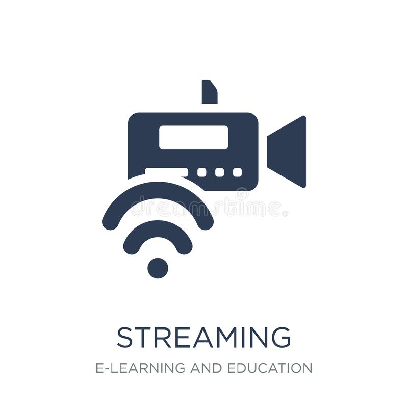 Streaming icon. Trendy flat vector Streaming icon on white background from E-learning and education collection. Vector illustration can be use for web and royalty free illustration