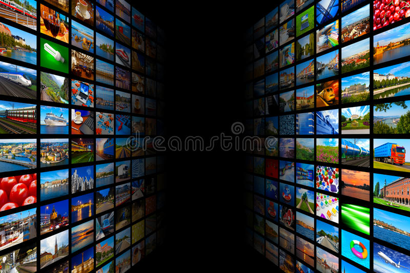 Streaming media technology and multimedia concept royalty free illustration