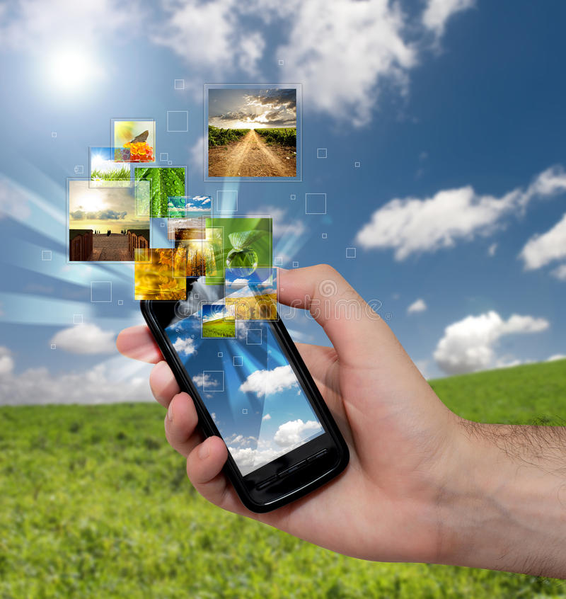 Streaming mobile phone stock images