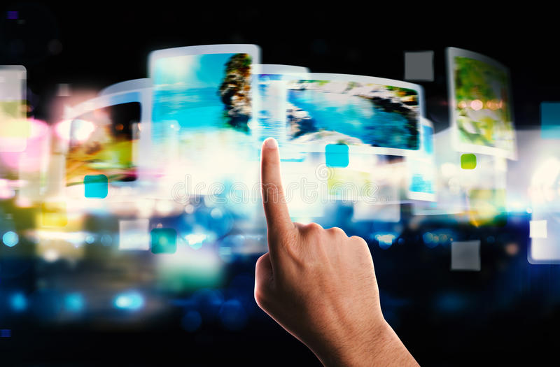 Streaming screen technology stock photography