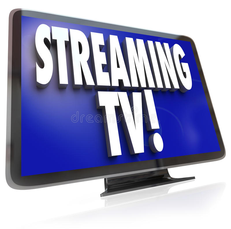 Streaming TV HDTV Set Online Internet Television Viewing. The words Streaming TV on an HDTV television set to illustrate downloading or pirating of programming stock illustration
